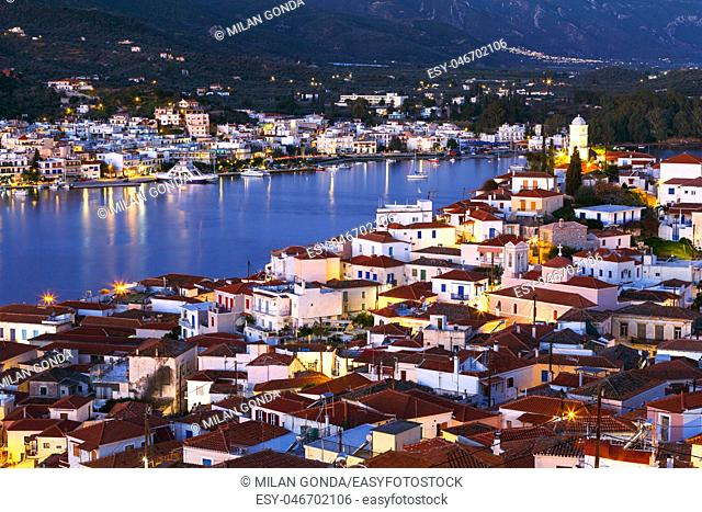 View of Poros island and Galatas village in Peloponnese peninsula in Greece.