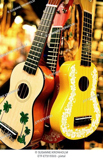 A close-up of ukuleles Hawaii