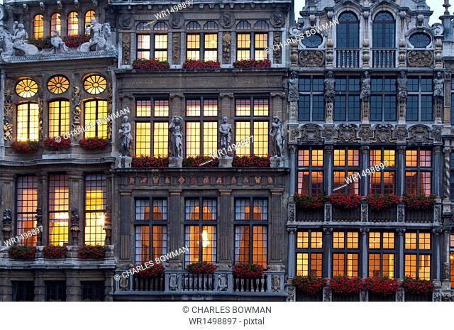 Grand Place building facade at dusk, UNESCO World Heritage Site, Brussels, Belgium, Europe