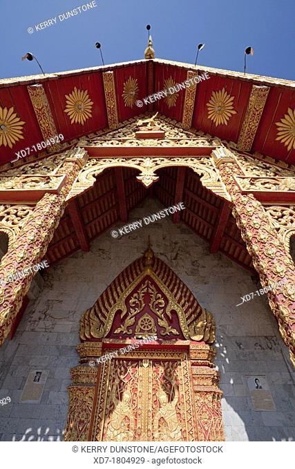 Entrance to Ubosot Ordination Hall, Wat Tung Yu, Chiang Mai, Thailand