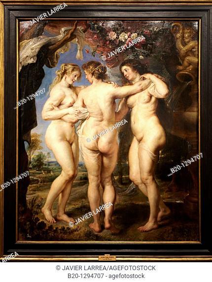 The three graces, painting by Rubens, Prado Museum, Madrid, Spain