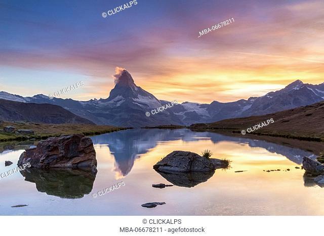 Matterhorn reflecting on the Stellisee Lake, Zermatt, Switzerland