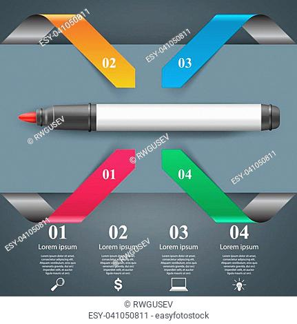 Origami style marker 3d infographics. Vector eps 10