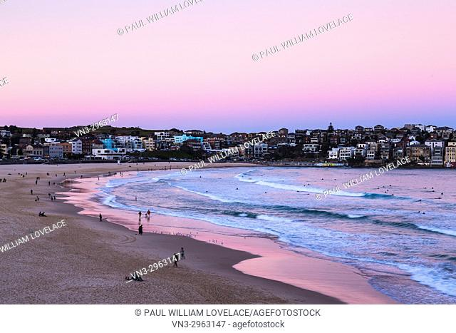 Bondi Beach, Sydney, Australia with a pink sunset