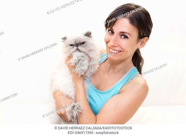 Young beauty woman holding a persian cat