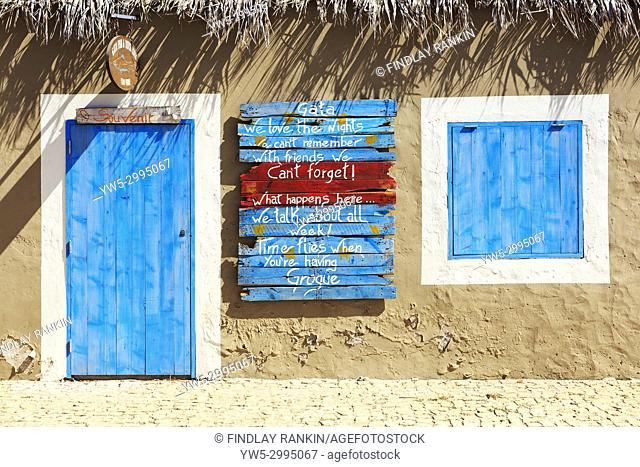 Outside of a local bar and souvenir shop in Palmeira, Cape Verde, Africa