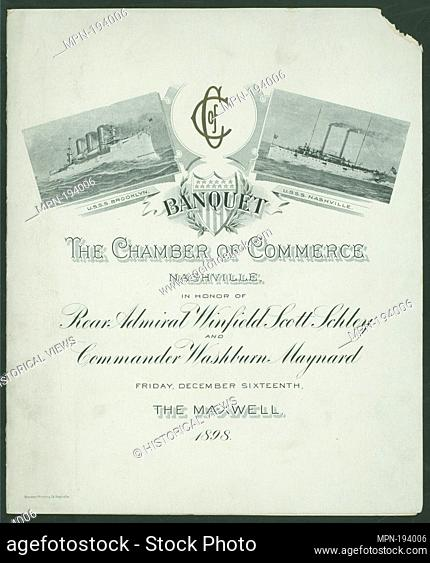 BANQUET IN HONOR OF REAR ADMIRAL WINFIELD SCOTT SCHLET AND COMMANDER WASHBURN MAYNARD [held by] CHAMBER OF COMMERCE NASHVILLE [TN] [at] HE MAXWELL (NASHVILLE...