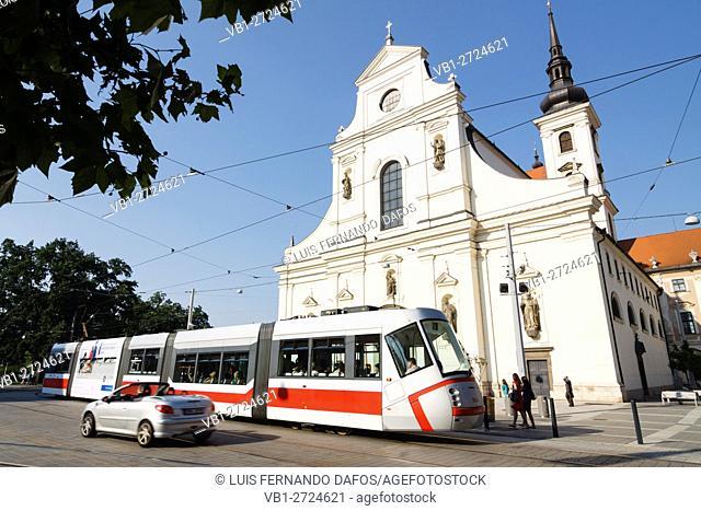 Tram by St. Thomas church at Moravian Square. Brno, Czech Republic
