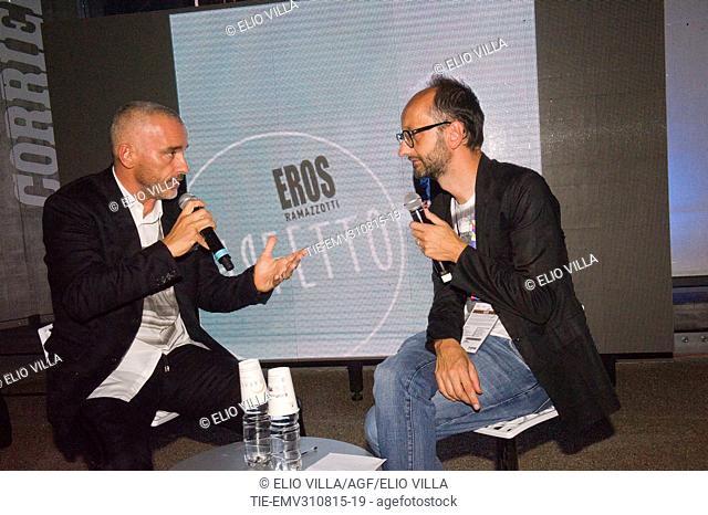 Eros Ramazzotti during the interview at Milan Expo 2015, Milan, ITALY-28-08-2015