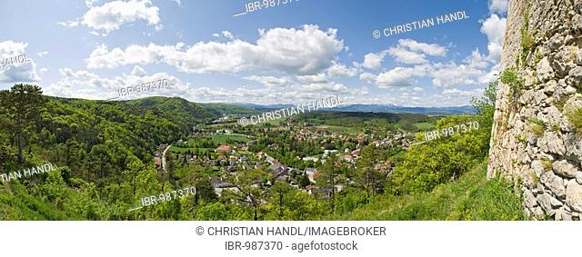 View from the castle over the town of Pitten, Lower Austria, Austria, Europe