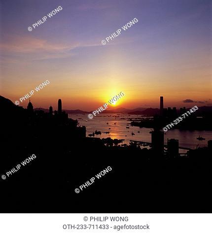 Cityscape from Mount Butler at sunset, Hong Kong