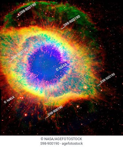 Named for its resemblance to a coiling spiral seen face on, the Helix Nebula NGC 7293 is a challenging stargazing target that has a more complex...