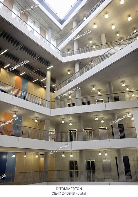 Modern office atrium with balconies