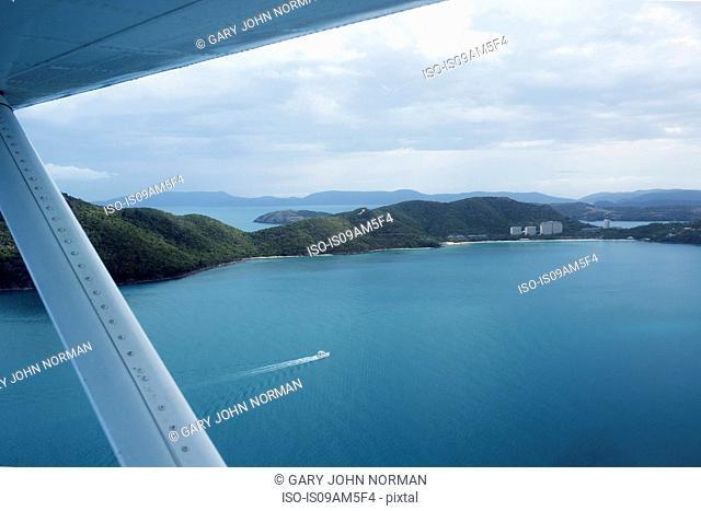 View of Hamilton Island, Whitsunday Islands from seaplane window, Queensland, Australia
