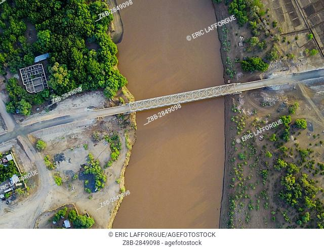 Aerial view of the metal bridge over Omo river, Omo Valley, Omorate, Ethiopia