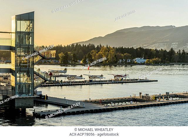 Harbour Air float planes, Coal Harbour float plane terminal, Vancouver, British Columbia, Canada
