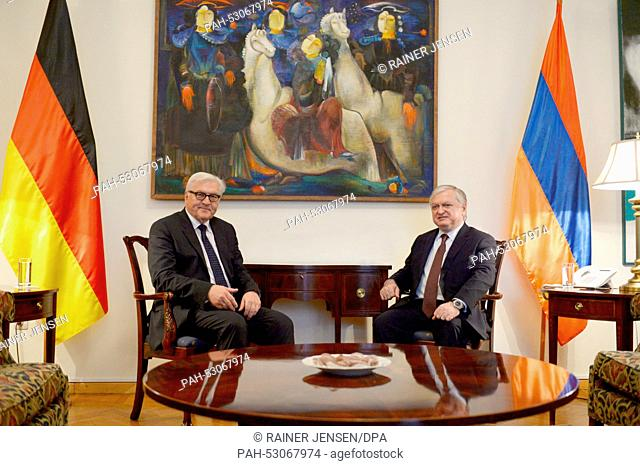 Minister for Foreign Affairs Frank-Walter Steinmeier (L, SPD) meets his Armenian counterpart Edward Nalbandian for talks at the Foreign Ministry in Yerevan