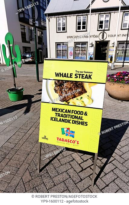 Sign advertising whale steak and Mexican food, Rejkjavik, Iceland