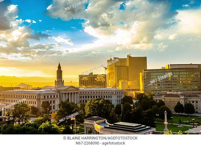 Denver Civic Center and skyline of Downtown Denver, Colorado USA