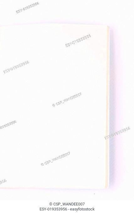Open empty notebook on white paper background
