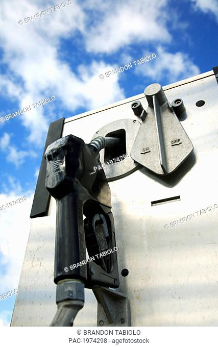 Hawaii, Oahu, Unleaded Gas Pump With A Blue Sky In The Background