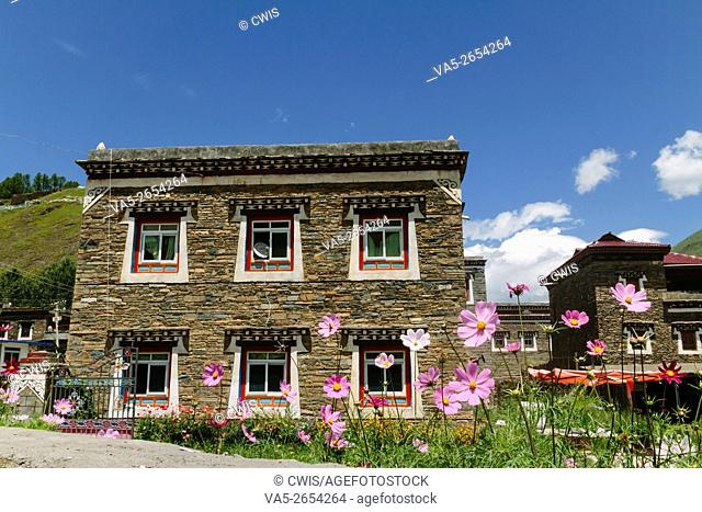 Xinduqiao, Sichuan province, China - The view of the special tibetan house build by stone in the daytime