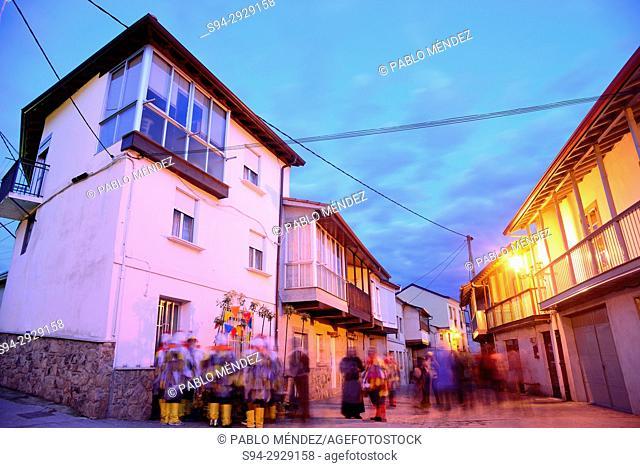 Outeiro street of Laza, Orense, Spain