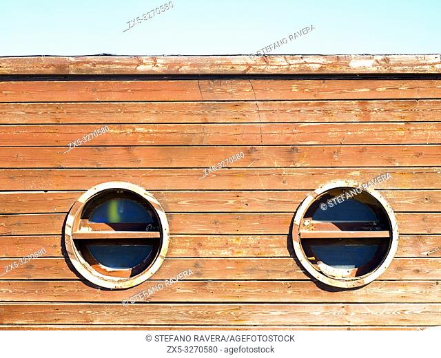 Wood cabin facade in the beach of Ostia Lido - rome, Italy