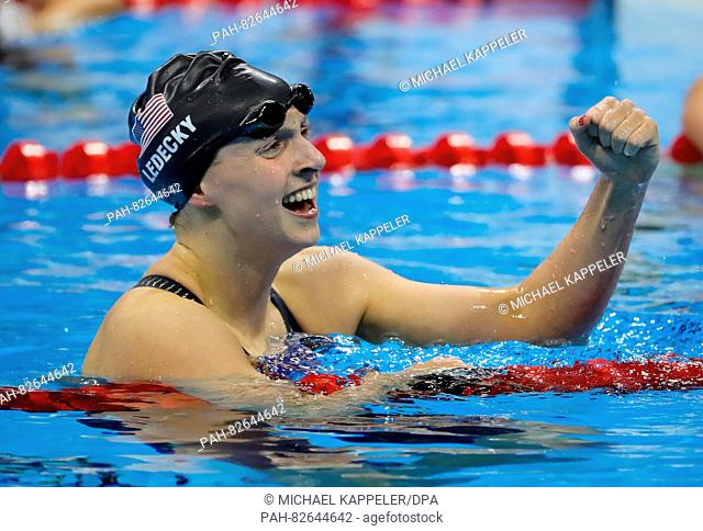 Kathleen Ledecky of the USA celebrates after winning the Gold medal in the Women's 200m Freestyle Final of the Swimming events during the Rio 2016 Olympic Games...