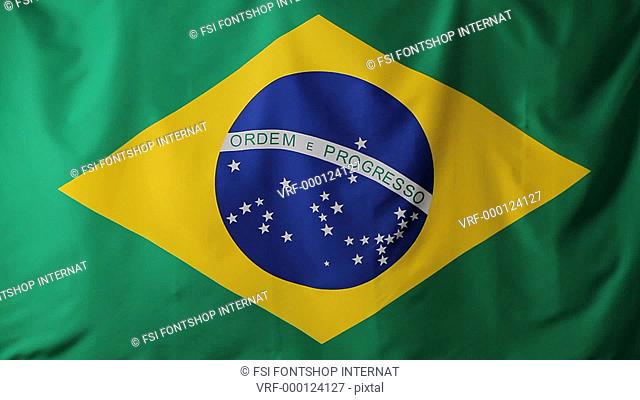 Close-up of a Brazilian flag