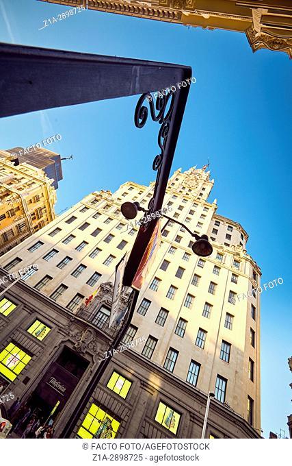 Telefonica building and Gran Via street. Madrid, Spain