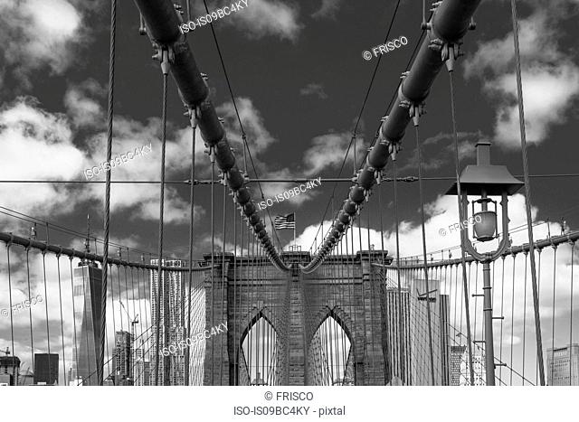 View of Brooklyn Bridge, B&W, New York, USA