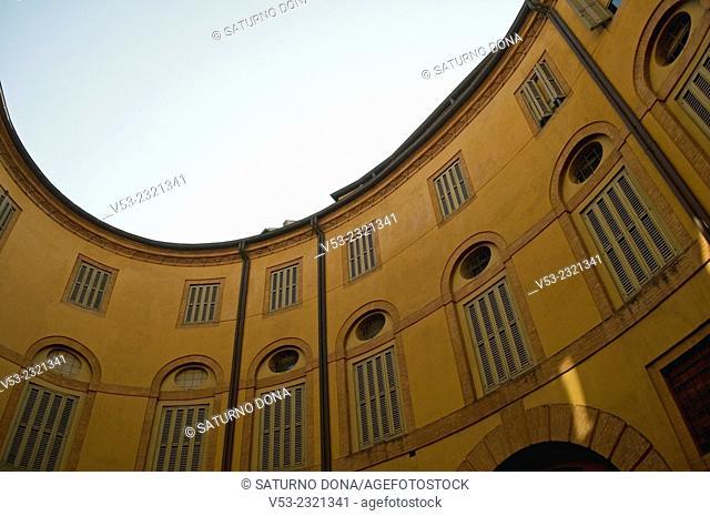 """Municipal theatre comunale """"""""Riccardo Muti"""""""" elliptical shape seen from its inner square in Ferrara - Italy"""