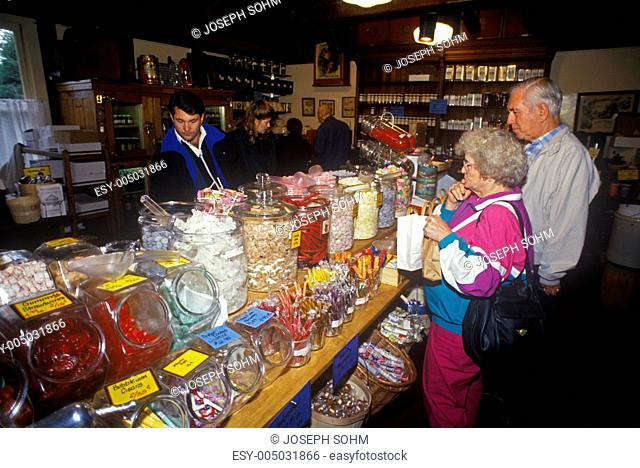 Interior of Vermont Country Store with customers at front counter, Rockingham, VT