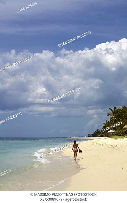 Girl in the beach of Le Morne Brabant, Mauritius