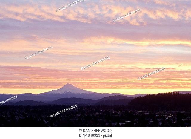 Sunrise over Mount Hood from Portland, Oregon, USA
