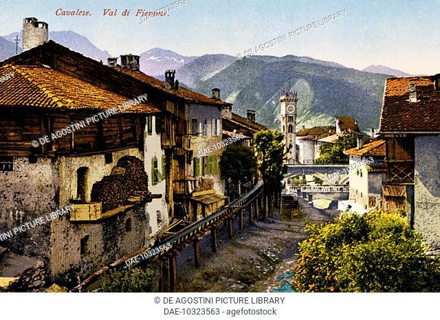 Cavalese, Val di Fiemme, postcard, Trentino-Alto Adige, Italy, 20th century