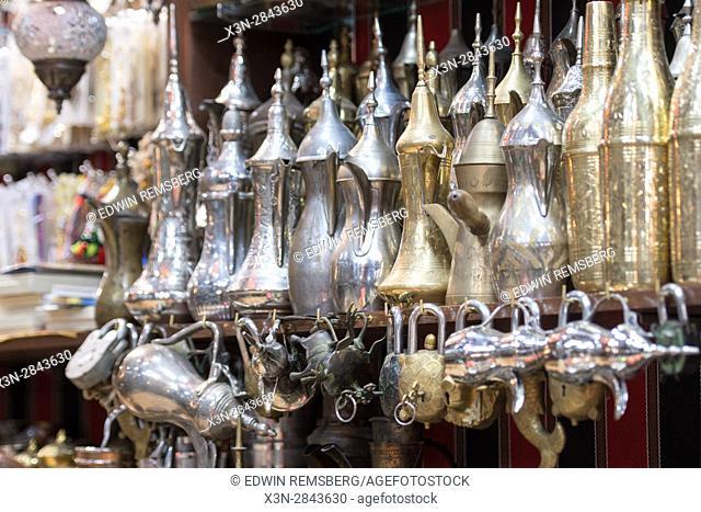 Muscat, Oman - Souq Muttrah Tea pots for sale in market