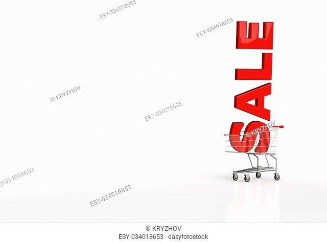 Big red word sale in shopping cart on white background. Place for your text. 3d render