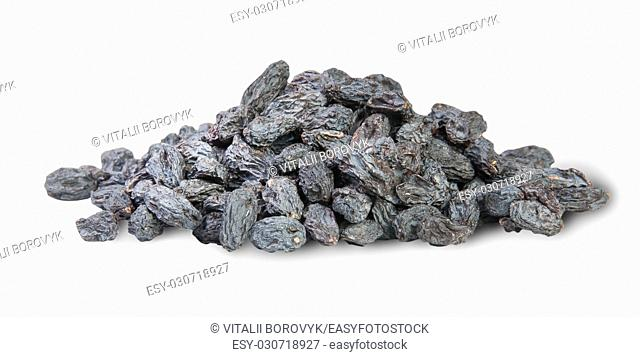Heap Of Dark Raisins Isolated On White Background
