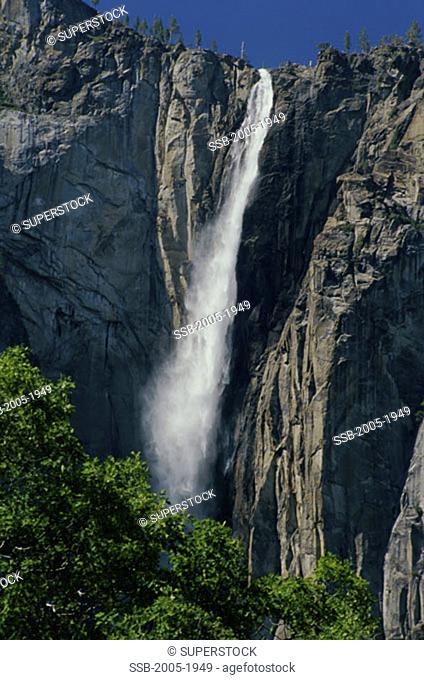 Water falling from a cliff, Ribbon Falls, Yosemite National Park, California, USA