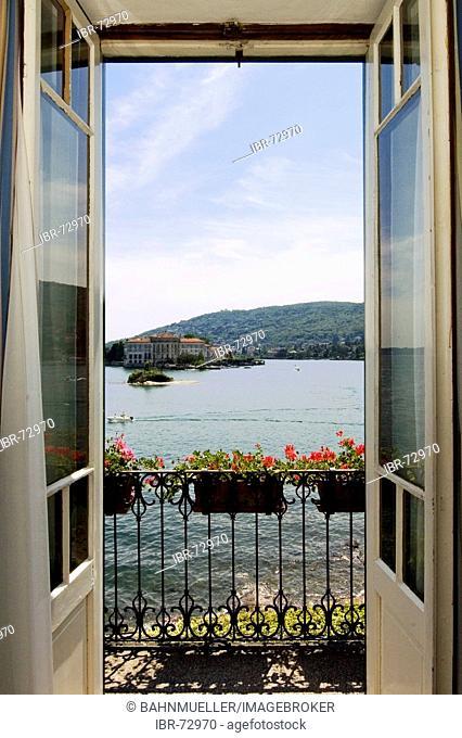 At the Lake Lago Maggiore Piedmont Piemonte Italy Island Isole Borromee Isola dei Pescatori near Stresa room in the famous hotel Verbano view to the isola Bella