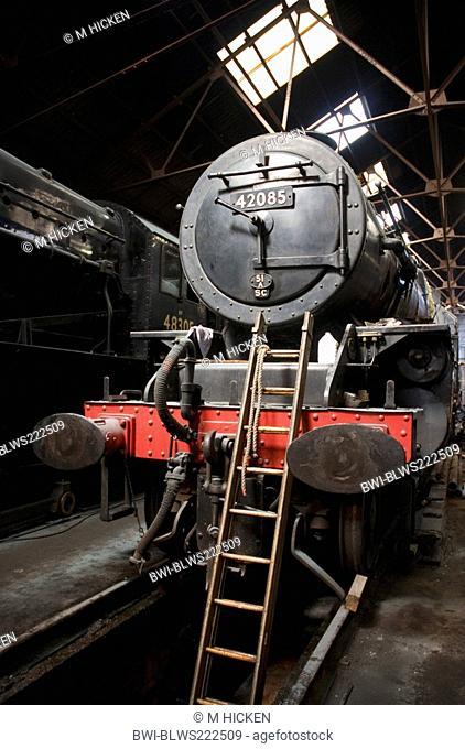 steam engine 42085 in engine shed, United Kingdom, England, Loughborough
