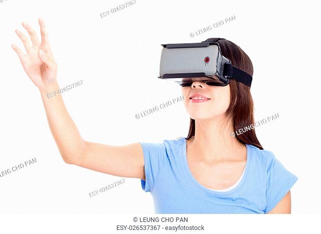 Young woman watching with vr device
