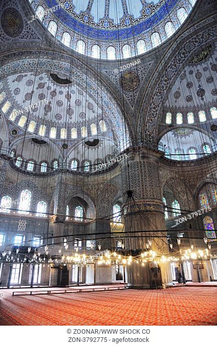 beautiful old mosque at istambul on sunset