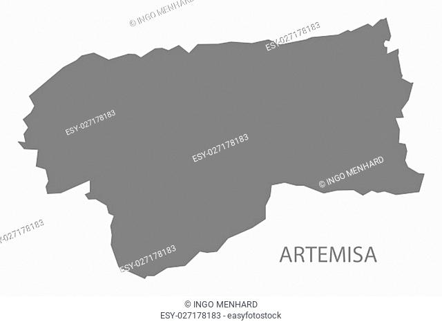 Artemisa Cuba Map grey