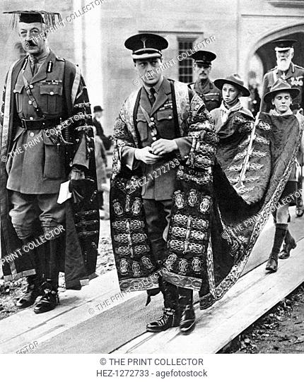 The Prince of Wales as chancellor of the University of Wales, Bangor, 1923. The future King Edward VIII in military uniform and ceremonial robes
