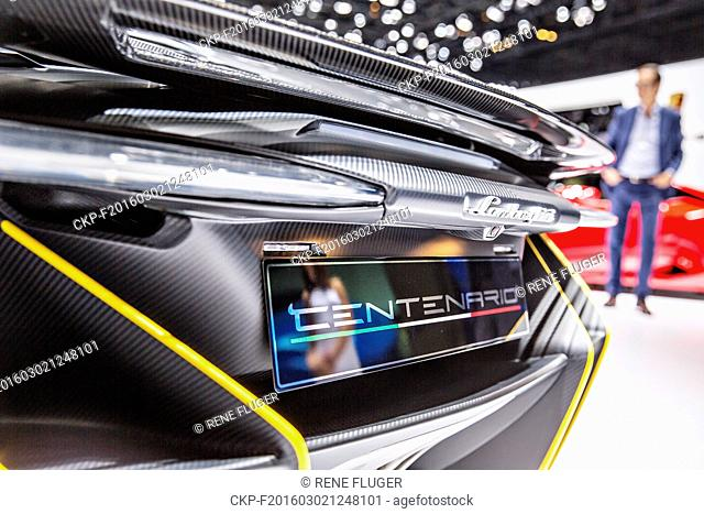 Details of Lamborghini Centenario LP 770-4, during the 86th International Motor Show in Geneva, on Wednesday, March 2nd, 2016. (CTK Photo/Rene Fluger)