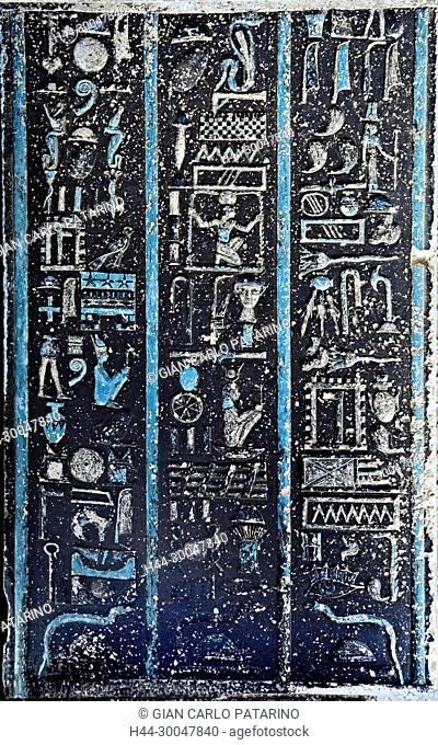 Dendera Egypt, ptolemaic temple dedicated to the goddess Hathor. Carvings on the ceiling before cleaned