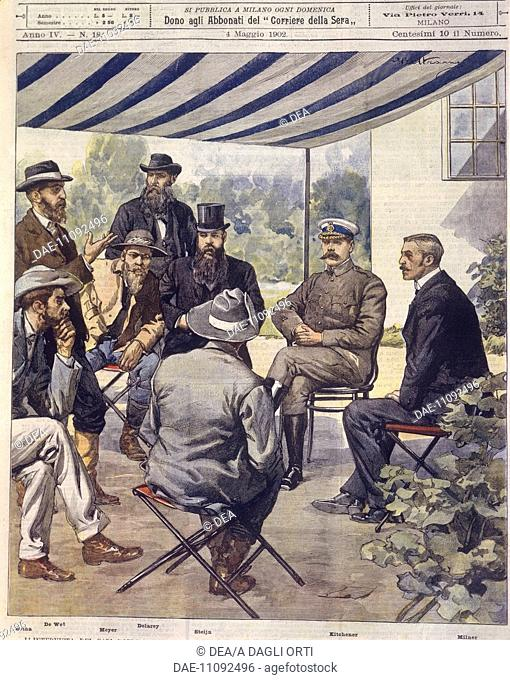 History, 20th century, Anglo-Zulu and Anglo-Boer Wars (1850-1902) - Negotiations for a peace treaty. Cover illustration from La Domenica del Corriere